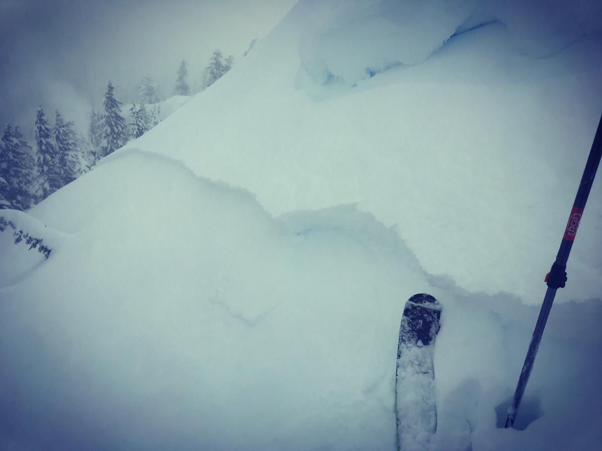 Storm slab on an east facing slope, near/above treeline on Gray Butte, triggered by a cornice drop. This slide was big enough to bury, inure or kill a person.