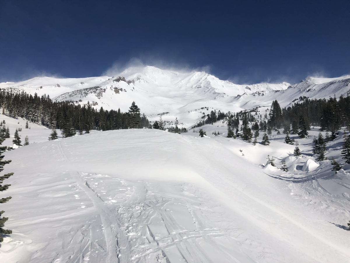 View of Avalanche Gulch: note plumes of blowing snow