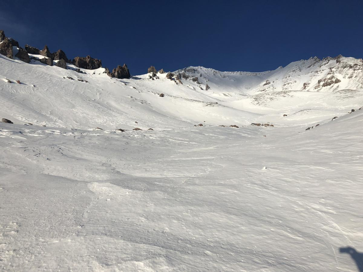 Looking up Avalanche Gulch. Note scorn ridge lines.