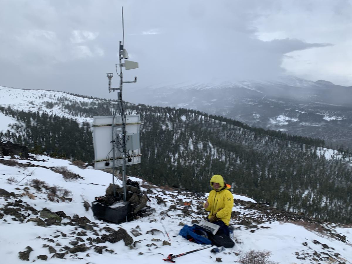 The Ash Creek Butte ridge station. Functioning well! Wind sensor (anemometer) was installed and working.