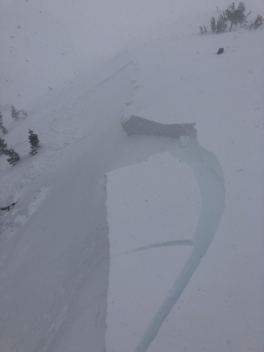 Easily triggered wind slab on test slope above treeline on Mt Shasta, West facing, 8000 feet