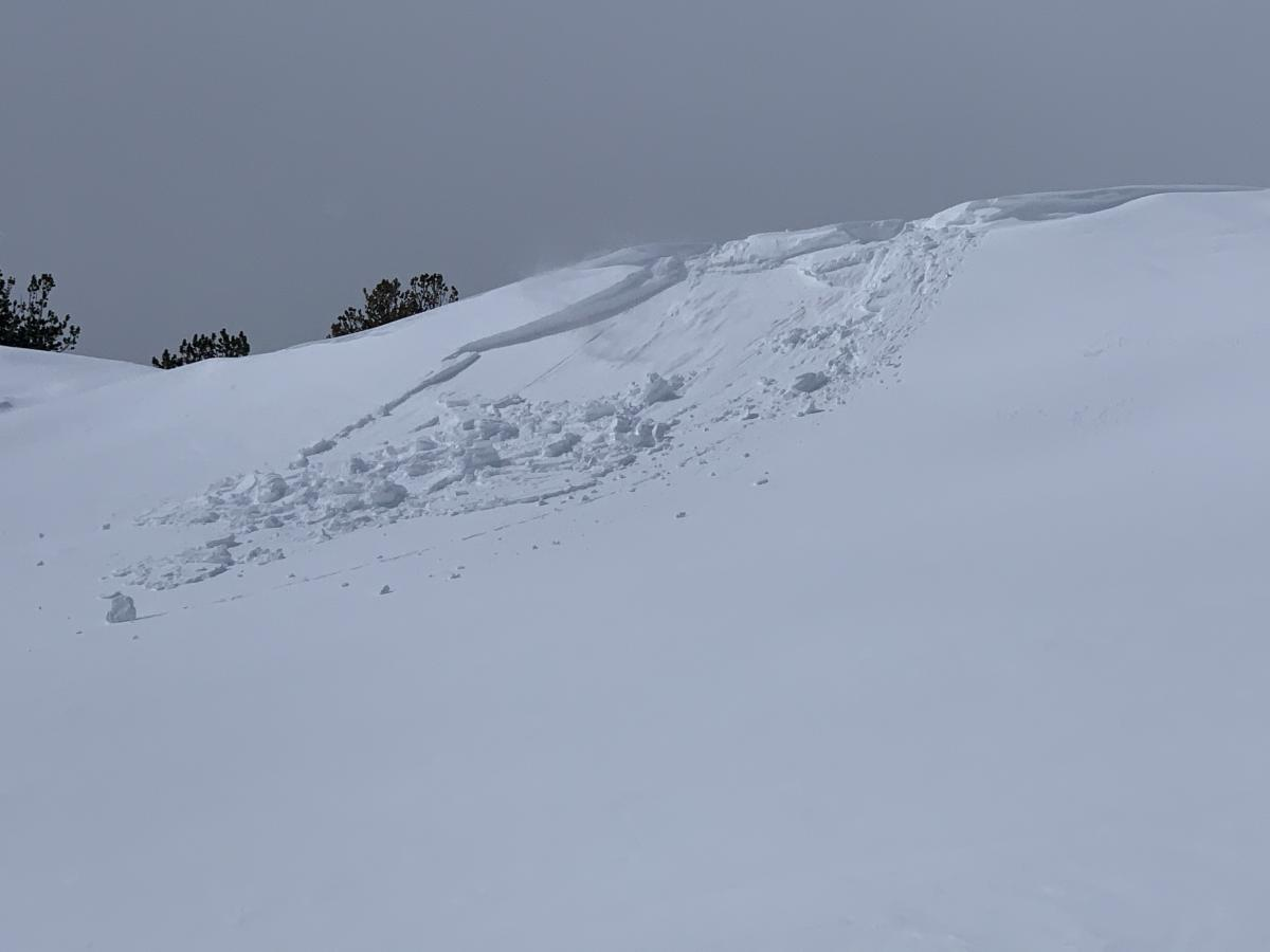 East facing test slope at 8,500 feet above treeline on Mt Shasta; small, easily triggered wind slabs and cornices