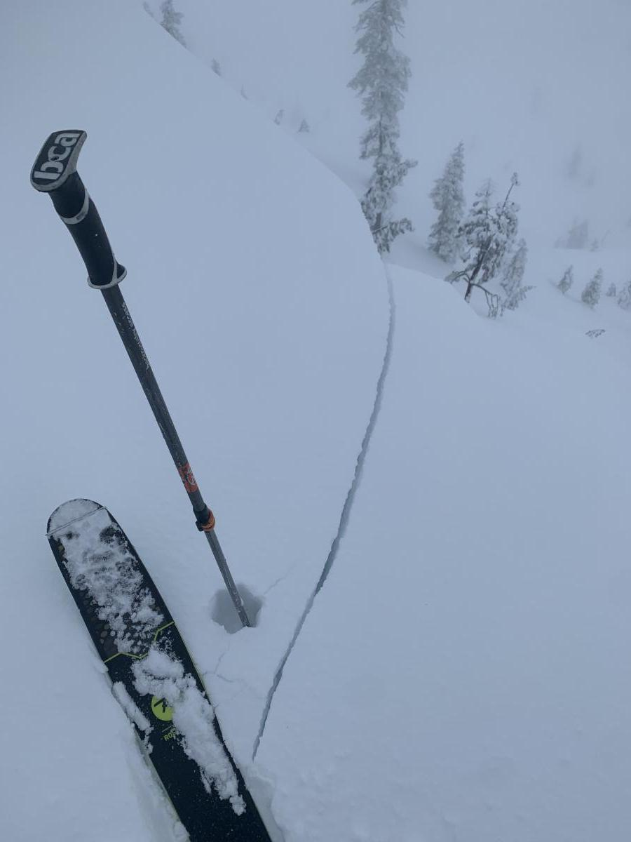 Near and above treeline along ridge lines, shooting cracks and cornices were easily triggered.