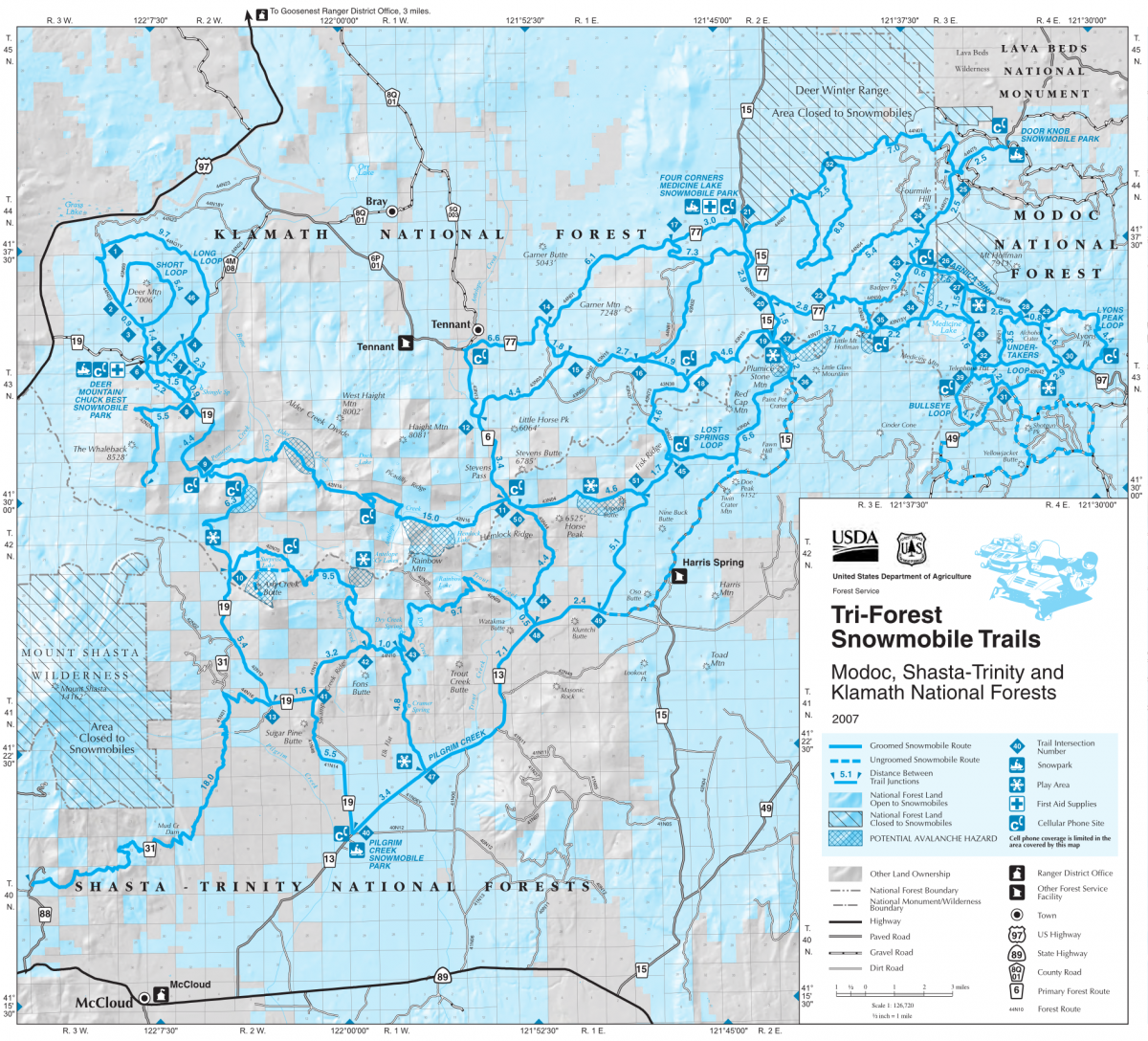Tri Forest Snowmobile Trails And Information Mount Shasta