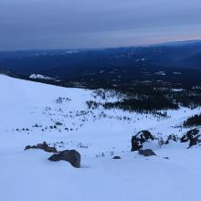 View of the start of Avalanche Gulch and Green Butte at dusk