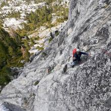 Climber ascending pitch 2