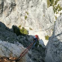Rappelling from the summit