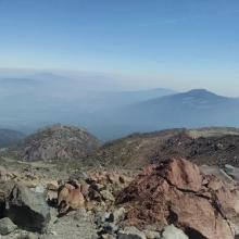 Below the high camp, looking out toward the Shasta Valley, north