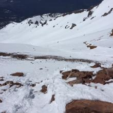 Looking down Avalanche Gulch from Thumb Rock