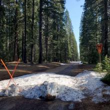 Pilgrim Creek Road ends at the Pilgrim Creek snowmobile park.