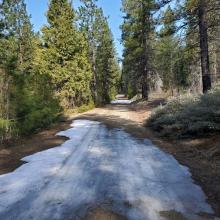 Clear Creek Road has sporadic snow from the Pilgrim Creek Road. 4x4 mandatory and you wont get far.