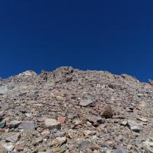 Around 13,000 feet the loose scree and talus gulley at the
