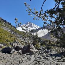Hiking to camp with a view of the upper mountain