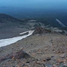 Looking down on 9800' camp and snow field to melt water.