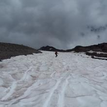 Fun boot ski on descent.  This snowfield can be avoided if you want to stay on the dirt trail.