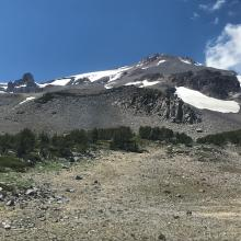 A look at the upper mountain from near treeline along the CC trail