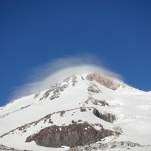 windy conditions and the upper mountain
