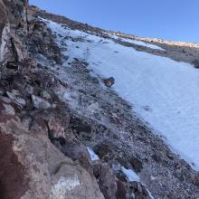The upper Bolam chute traverse