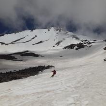 A skier getting some last turns after an excellent 4,000 ft ski descent