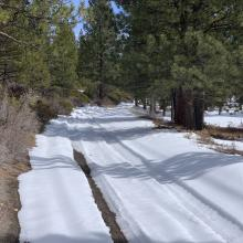 Looking uphill, 3.9 miles up Military pass, turned around here. Soft snow, poor traction even for 4x4