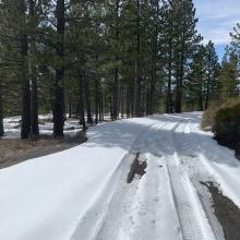 Looking downhill, 3.9 miles up Military pass, turned around here. Soft snow, poor traction even for 4x4