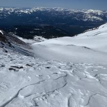 Looking down into lower Avalanche Gulch from Green Butte ridge