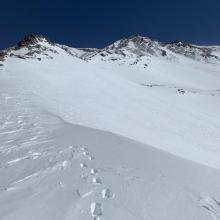 Looking up Green Butte ridge from 10k, ~6 inches of boot penetration mid morning