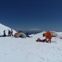 Climbers camp at Lake Helen 10,400 feet