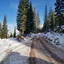 Waypoint 2 - Road plowed but not recommended due to logging truck activity.