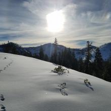 Conditions along ridge to Left Peak