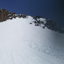 Old D1 wet loose avalanche, west facing aspect, 8,200 ft