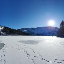 Castle Lake frozen, a few weak areas around the edges.