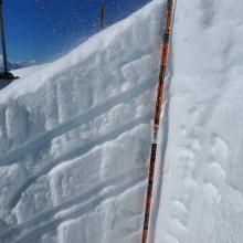 Wind slab atop thick crust, CT14 BRK failures here high on ridgetops.