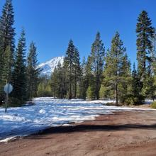 Snow on road to Brewer Creek Trailhead at the Military Pass turnoff