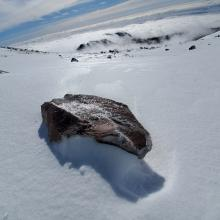 Exposed rocks covered in ice