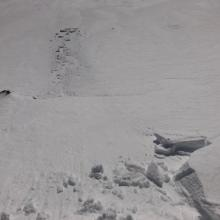 Small cornices forming on easterly aspects