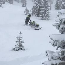 Easy to get stuck on a snowmobile, very deep