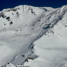 Mount Shasta, Avalanche Gulch and Green Butte Ridge. Photo taken from summit of Green Butte