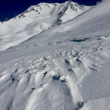 Sastrugi on Green Butte Ridge, elevation approximately 9,000 feet.