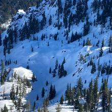 Some signs of instability were noticed on nearby slopes with similar aspects and elevation.  Some crowns could be seen in similar areas, but it's unknown how recent they are.