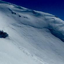 Old wind slab on W/SW facing aspect of Sargents Ridge - Photo: J Koster