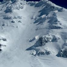 Sargents Ridge from approx. 12,000 feet in Avalanche Gulch - Photo; J Koster