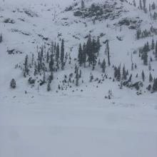 R4/D3 slab avalanche at Cliff Lake, photo by Scott Anderson