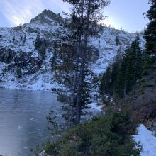 View of the frozen lake from the trail