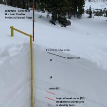 Pit location, 20210102, Avy Gulch/Lower Casaval Ridge, near treeline, 8,000 feet
