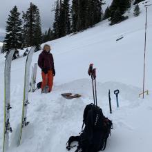Pit location, 8,000 feet, lower Casaval Ridge, SE facing flank