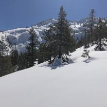 Snowpack above Cliff Lakes