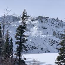 Middle Peak viewed from below treeline along the Heart Lake trail