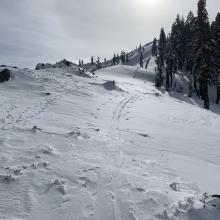 Scoured rock and hard ice/old snow over exposed ridges, this ridge running north/south, winds have been primarily west.