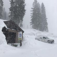 4 inches of new snow at Bunny Flat at 11 p.m.